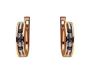 Золоті сережки з діамантами і корундами 01-17604158 фотографія