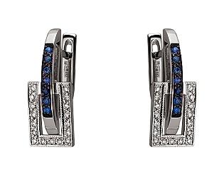 Золоті сережки з діамантами і корундами 01-17620858 фотографія