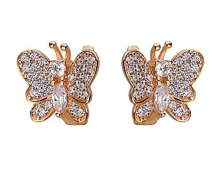 Золоті сережки з цирконієм куб. 01-17656458 фотографія