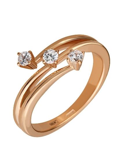 """Золотое кольцо 585 пробы с фианитами (15-000065767) """"Ювелирная карта"""""""