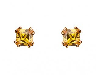 Золоті сережки з фіанітом 1с-146 фотографія