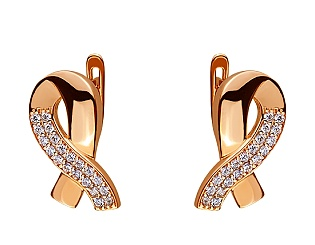 Золоті сережки з цирконієм куб. 01-17656459 фотографія