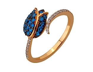 Золотое кольцо с фианитами и шпинелью синтетической 13б_к-176 фотография
