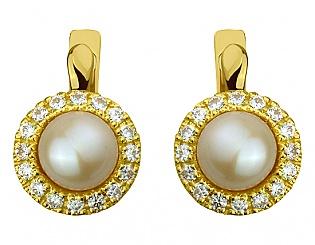 Золоті сережки з фіанітом і перлиною 3б_с-072 фотографія