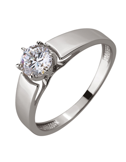 Золотое кольцо с цирконием куб. 01-17578960 фотография 1
