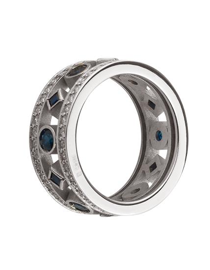 Золотое кольцо с сапфирами и бриллиантом 2б_к-157 фотография