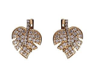 Золоті сережки з фіанітами 01-17346561 фотографія