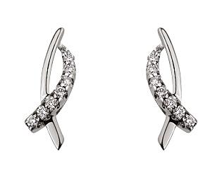 Золоті сережки з діамантом 01-17586561 фотографія