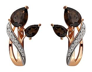 Золоті сережки з кварцами і фіанітом і цирконієм куб. 8б_с-025 фотографія