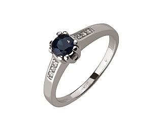 Золотое кольцо с бриллиантом и корундом 01-17466962 фотография