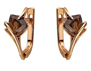 Золоті сережки з кварцами 01-17506362 фотографія