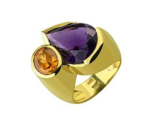 Золота каблучка з цитрином і аметистом 03-609-00063 фотографія