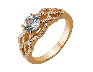 Золотое кольцо с топазами и фианитами 1б_к-154 фотография