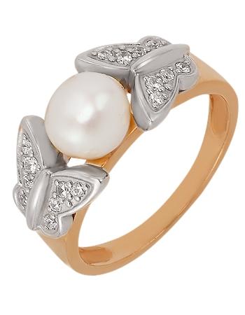 Золотое кольцо с фианитами и жемчугом 4б_к-011 фотография 1