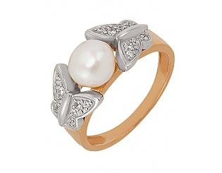 Золотое кольцо с фианитами и жемчугом 4б_к-011 фотография