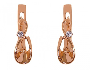 Золоті сережки з діамантом 1с-026 фотографія