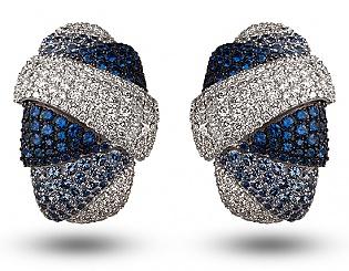 Золоті сережки з діамантами і сапфірами 11б_с-061 фотографія