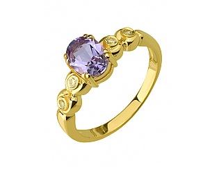 Золотое кольцо с аметистом и цирконием куб. 3к-172 фотография