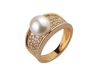 Золотое кольцо с фианитами и жемчугом 1б_к-132 фотография