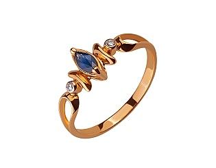 Золота каблучка з діамантами і корундом 01-17522563 фотографія