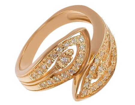 Золотое кольцо 585 пробы с фианитами :: золотое ювелирное украшение