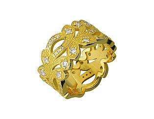Золотое кольцо с фианитами и циркониями 3б_к-174 фотография