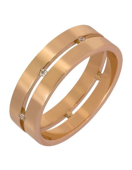 """Золотое обручальное кольцо 585 пробы с фианитами (15-000069575) """"Ювелирная карта"""""""
