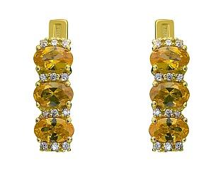 Золотые серьги с циркониями и фианитами 3с-149 фотография