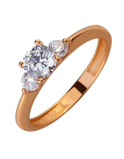 Золотое кольцо с цирконием куб. 01-17578964 фотография 1