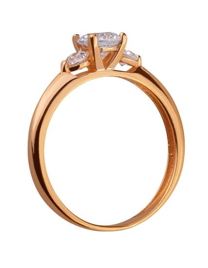 Золотое кольцо с цирконием куб. 01-17578964 фотография 2
