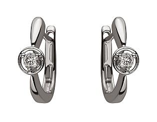 Золоті сережки з діамантом 01-17599264 фотографія