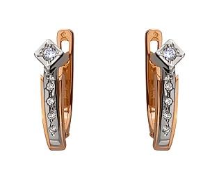 Золоті сережки з діамантами 01-17676164 фотографія