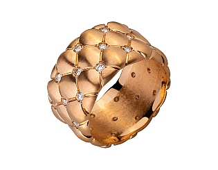 Золота каблучка з діамантами 1б_к-049 фотографія