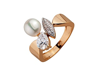 Золотое кольцо с фианитами и жемчугом 8б_к-133 фотография