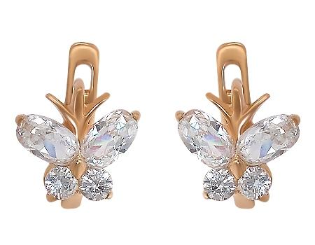 Золоті сережки з фіанітами 1-с-981 фотографія