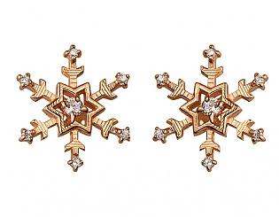 Золоті сережки з фіанітом і цирконієм куб. 1б_с-105 фотографія