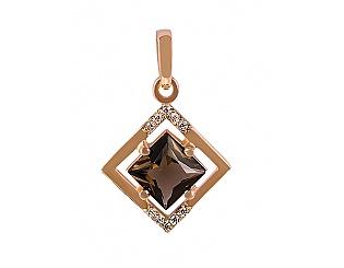 Золотой кулон с цирконием куб. и кварцем 1б_п-012 фотография