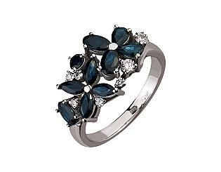 Золотое кольцо с бриллиантами и сапфирами 2б_к-159 фотография