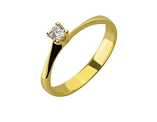 Золота каблучка з діамантом 01-17648367 фотографія