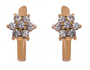 Золоті сережки з фіанітами 1-с-531 фотографія