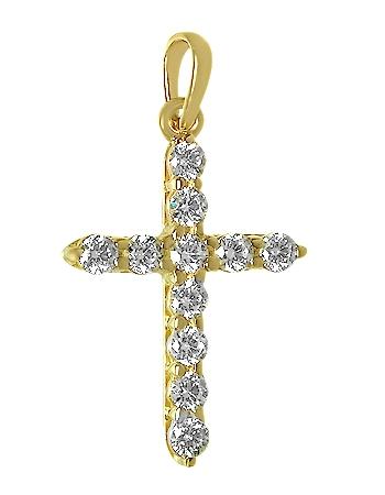 Золотой крестик 585 пробы  с фианитами (15-000082152)