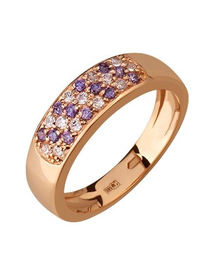 """Золотое кольцо 585 пробы с фианитами (15-000075480) """"Ювелирная карта"""""""