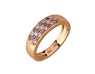 Золотое кольцо с цирконием куб. и фианитом 1б_к-057 фотография