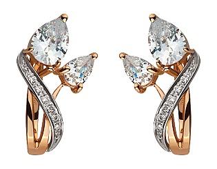 Золоті сережки з фіанітами і цирконієм куб. 8б_с-025 фотографія