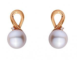 Золоті сережки з фіанітами і перлинами 1с-167 фотографія