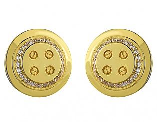 Золоті запонки з цирконіями 3б_з-001 фотографія