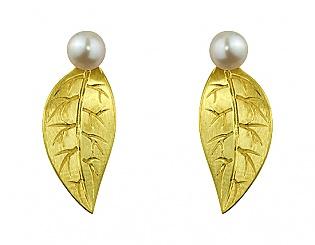 Золоті сережки з перлинами 3с-156 фотографія