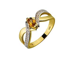Золотое кольцо с цитрином и фианитом 9б_к-155 фотография
