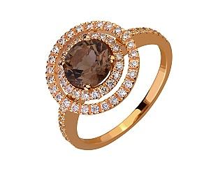 Золота каблучка з кварцом і діамантами 1б_к-187 фотографія