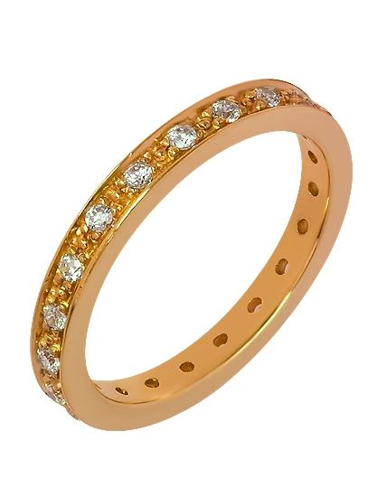 """Золотое обручальное кольцо 585 пробы с фианитами (15-000054097) """"Ювелирная карта"""""""